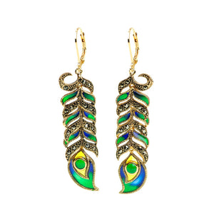 Gorgeous Peacock Feather Marcasite and Enamel 14kt Gold Plated Earrings
