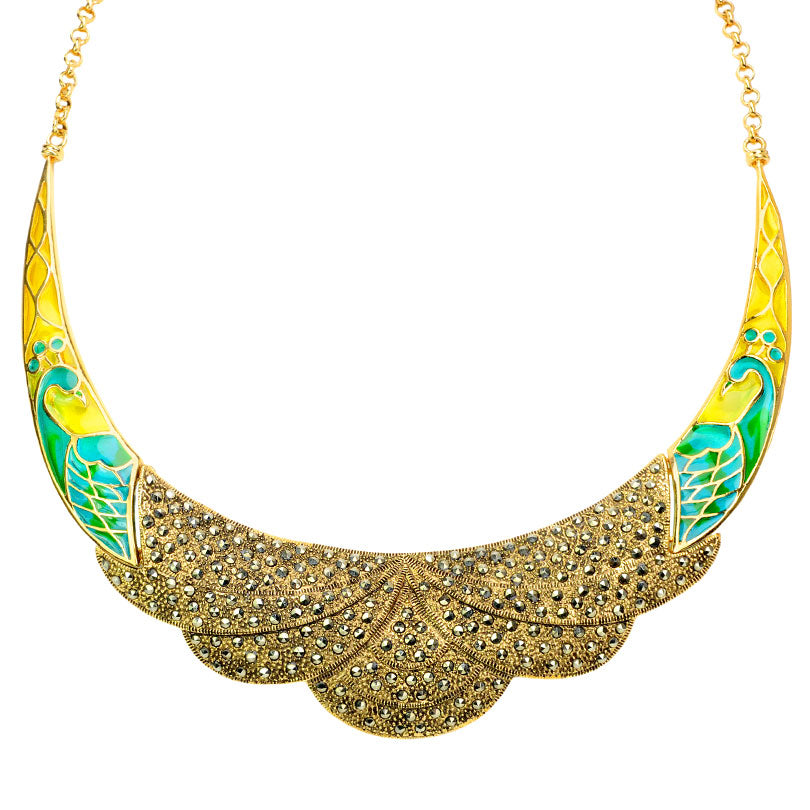 Shimmering 14kt Gold Plated Peacock with Sparkling Marcasite Statement Necklace