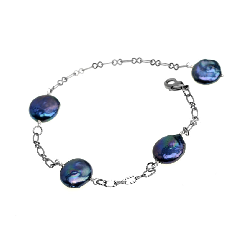 Royal Blue Fresh Water Coin Pearl Blackened Brass Bracelet