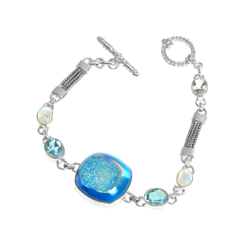 Beautiful Sparkling Blue Titanium Druzy Blue Topaz & Moonstone Sterling Silver Bracelet