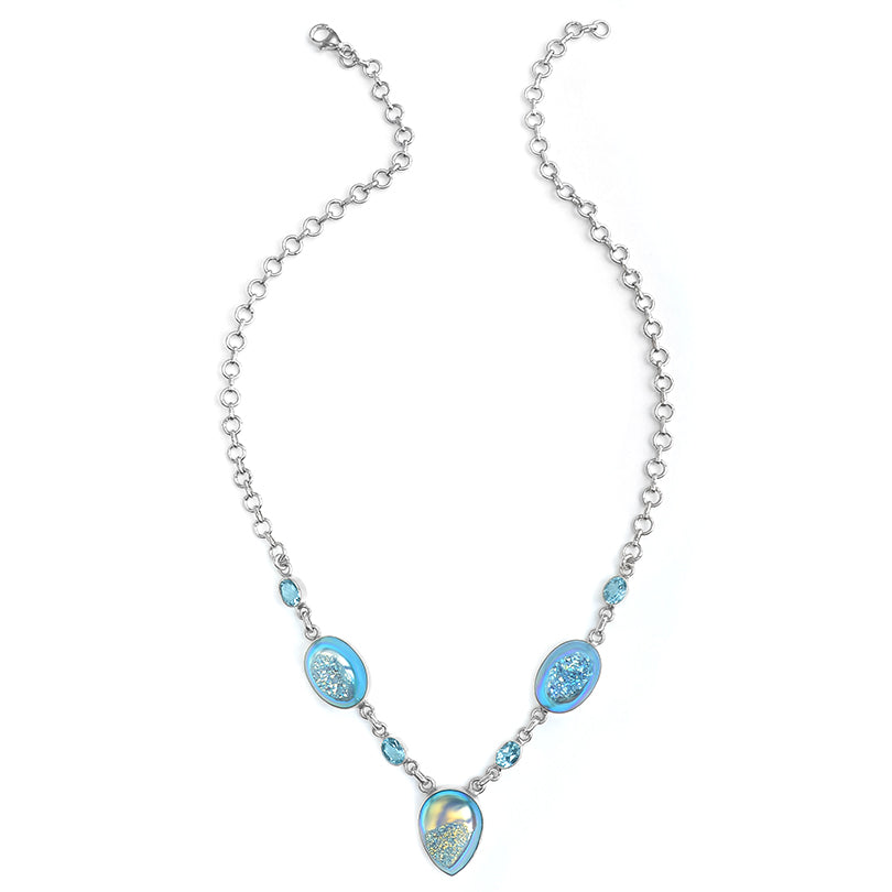Beautiful Shimmering Titanium Blue Drusy with Blue Topaz Sterling Silver Necklace