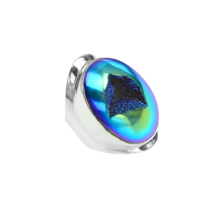 Gorgeous Kaleidoscope of Blues and Purples Titanium Druzy Statement Ring
