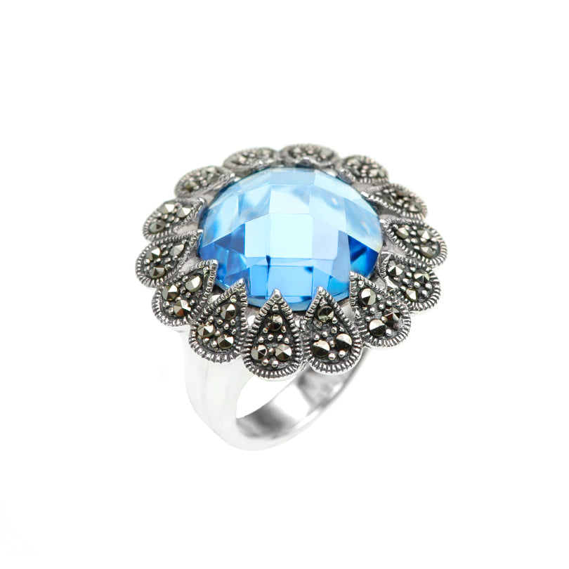 Mystic Blue Cubic Zirconia Sterling Silver Marcasite Cocktail Ring