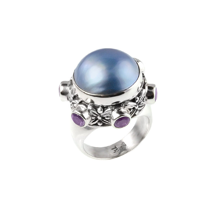 Exquisite Blue Mabe Pearl With Amethyst Sterling Silver Ring