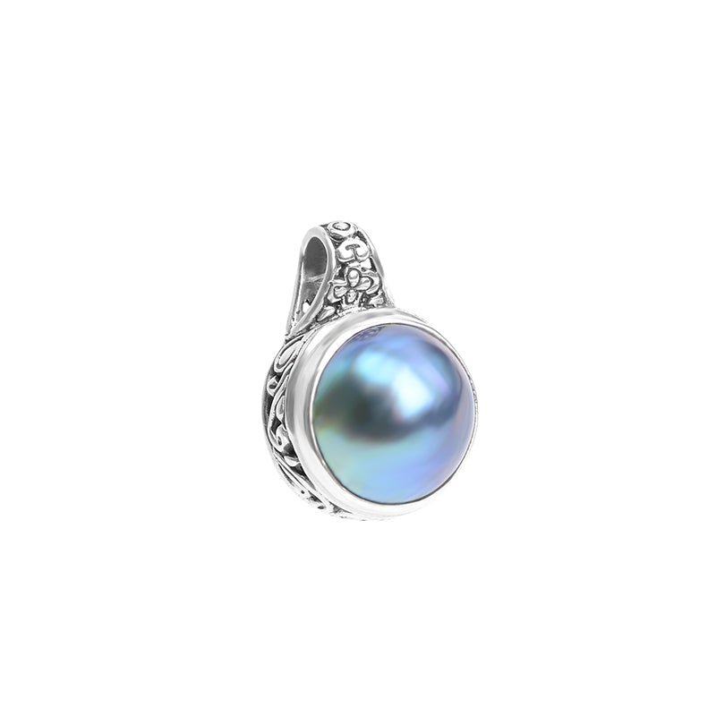 Blue Fresh Water Mabe Pearl Sterling Silver Pendant