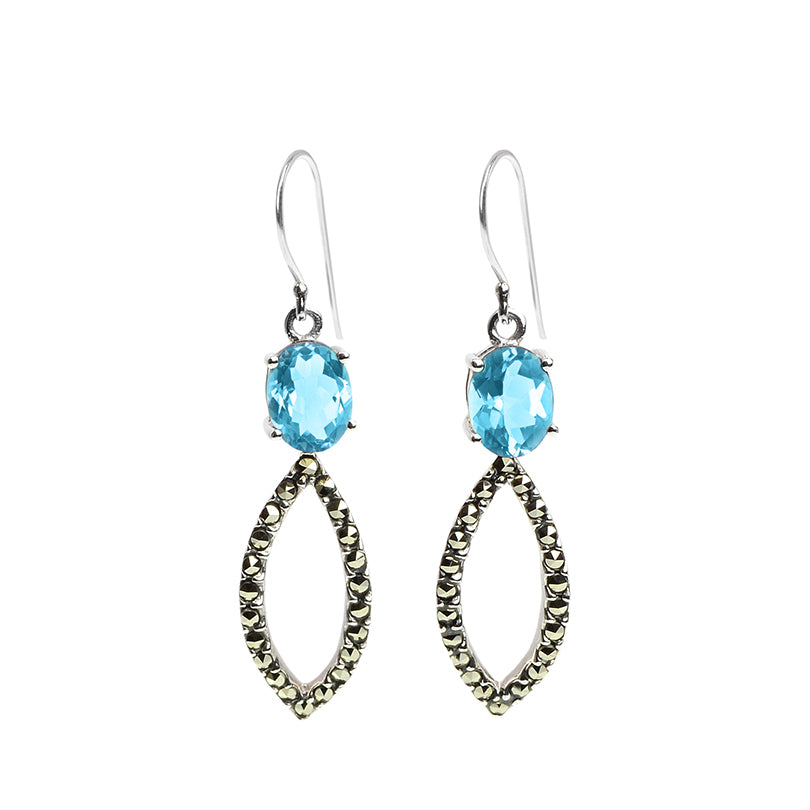 Sterling Silver, Marcasite and Blue Topaz Earrings