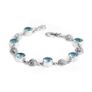 Beautiful Balinese Design Blue Topaz Sterling Silver Bracelet
