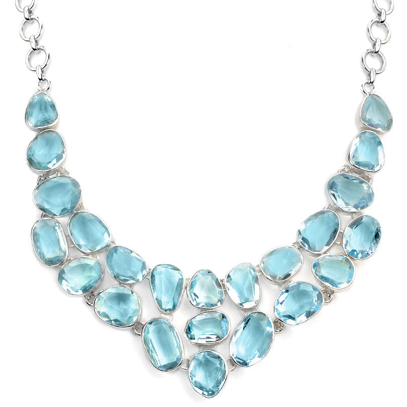 Absolutely Radiant Sky Blue Topaz Sterling Silver Statement Necklace