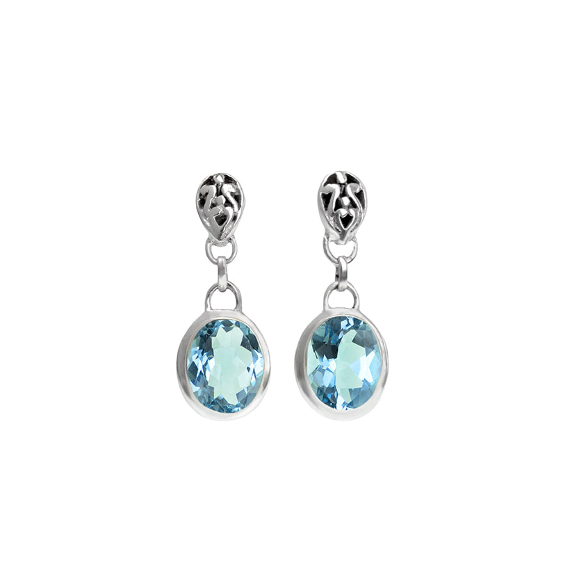 Small Stone Blue Topaz Sterling Silver Earrings