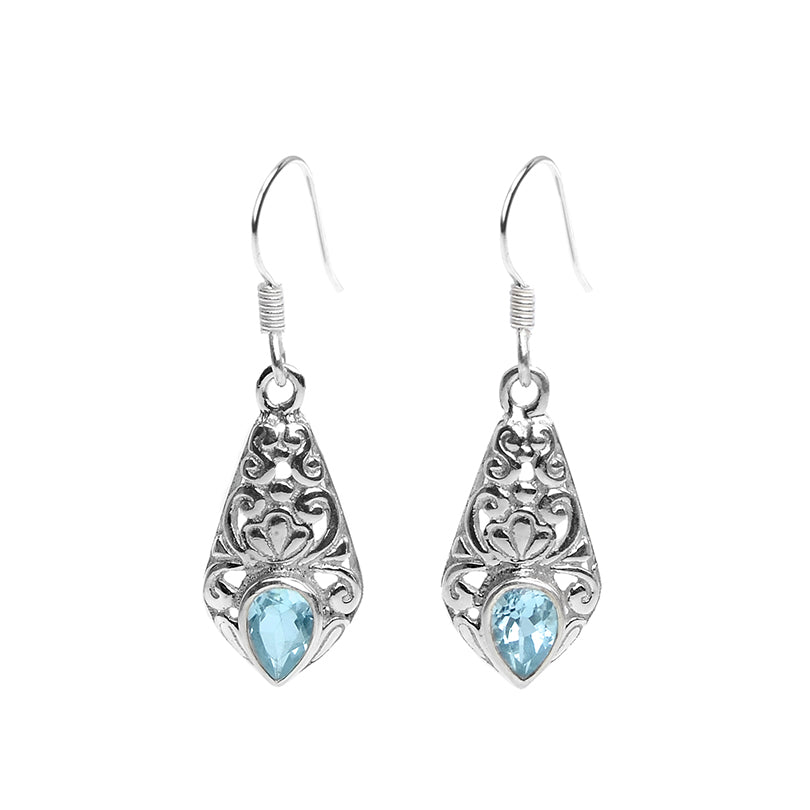 Petite Blue Topaz Bali Design Sterling Silver Earrings