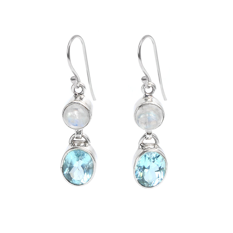 Sterling Silver Blue Topaz and Moonstone Earrings