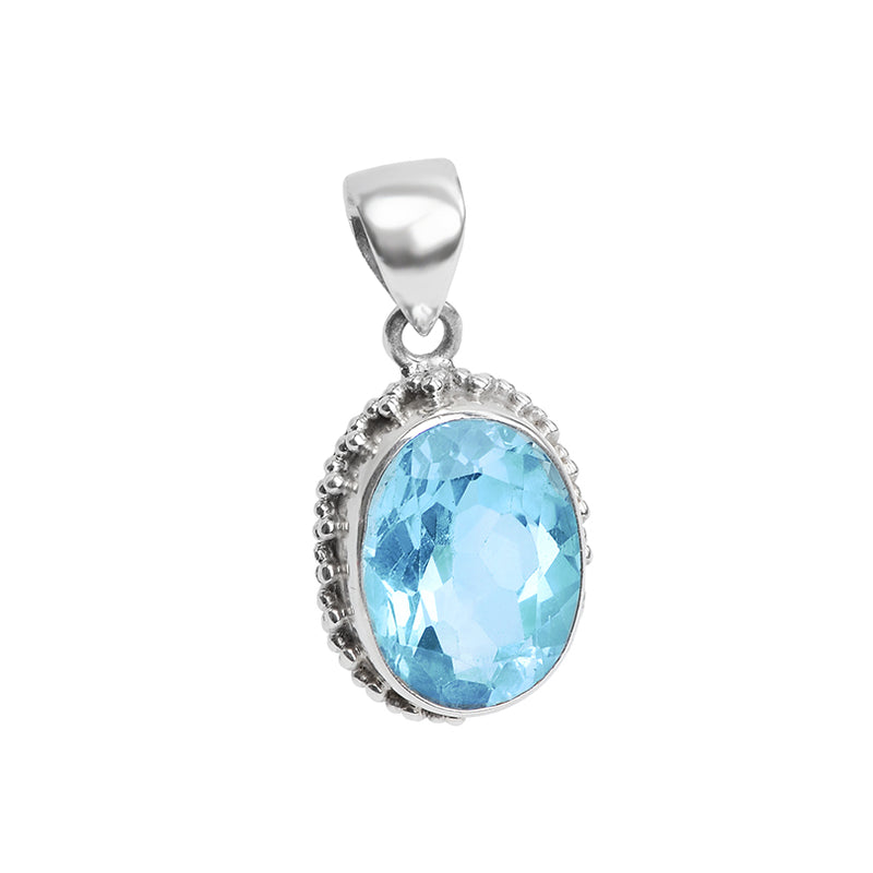Beautiful  Blue Topaz Sterling Silver Pendant
