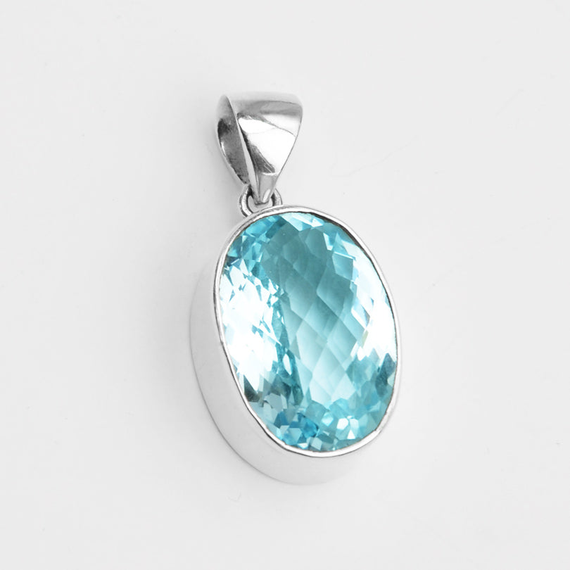 Dazzling Blue Topaz Sterling Silver Statement Pendant