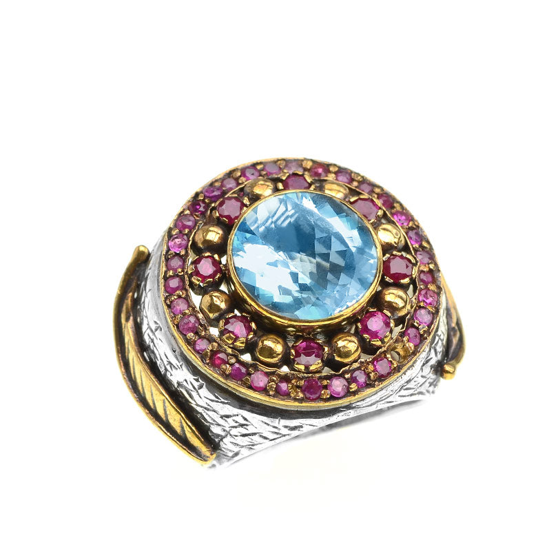 Dramatic Blue Topaz & Rubies Sterling Silver Cocktail Ring