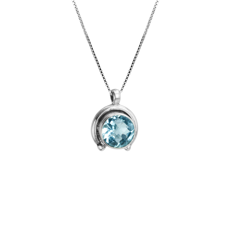 Gorgeous Sparkling Blue Topaz Sterling Silver Necklace