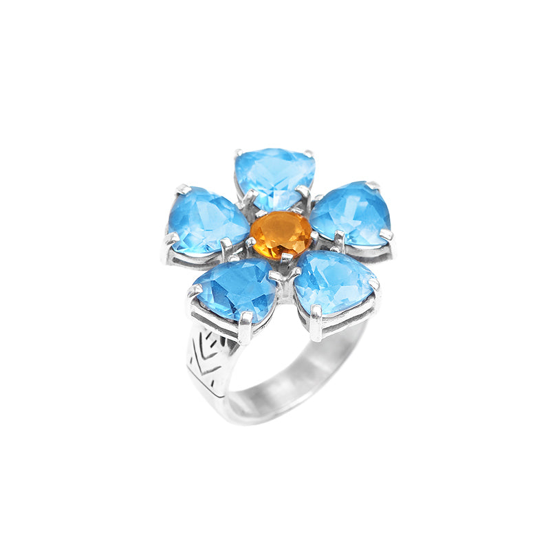 deGruchy Beautiful Blue Quartz & Citrine Sterling Silver Flower Ring