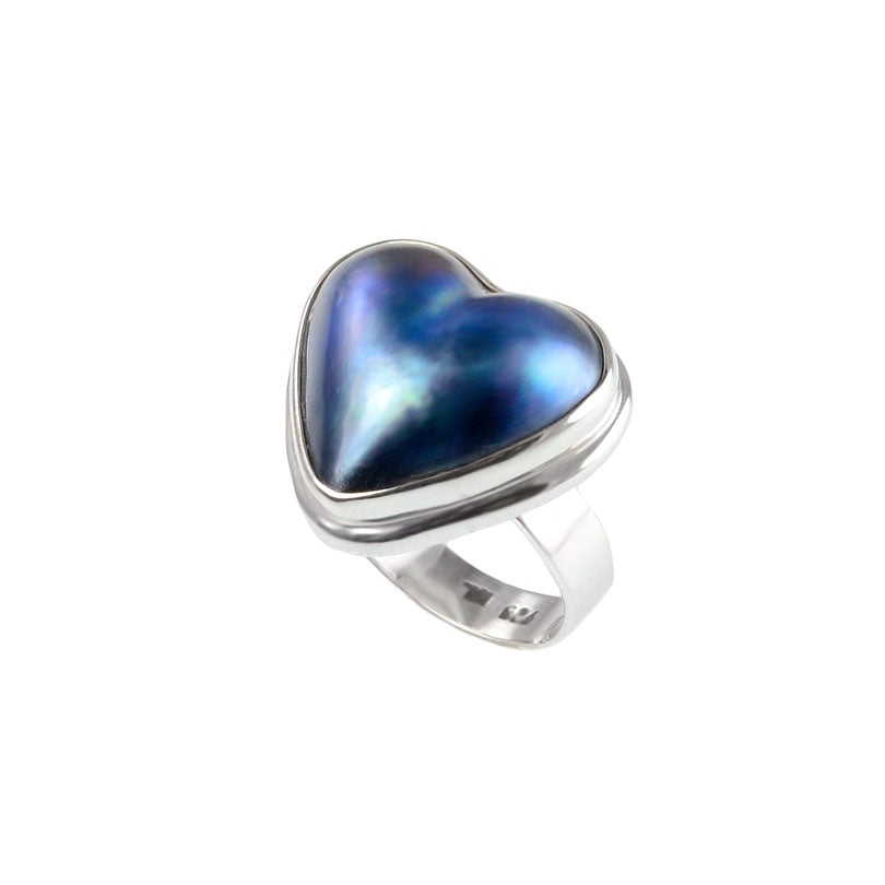 """Blue"" or ""Black"" Mabe Pearl Sterling Silver Heart Ring"