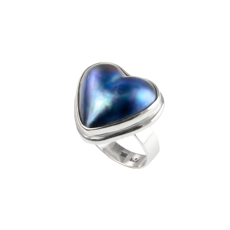 Dark Mabe Pearl Sterling Silver Heart Ring