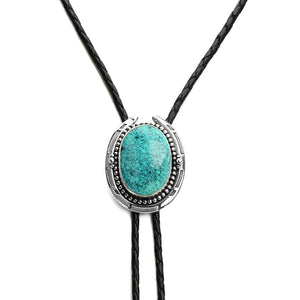 Genuine Turquoise Sterling Silver Leather Bolo-Tie 39""