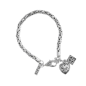 Charming Balinese Sterling Silver Charm Bracelet with Dragonfly Clasp