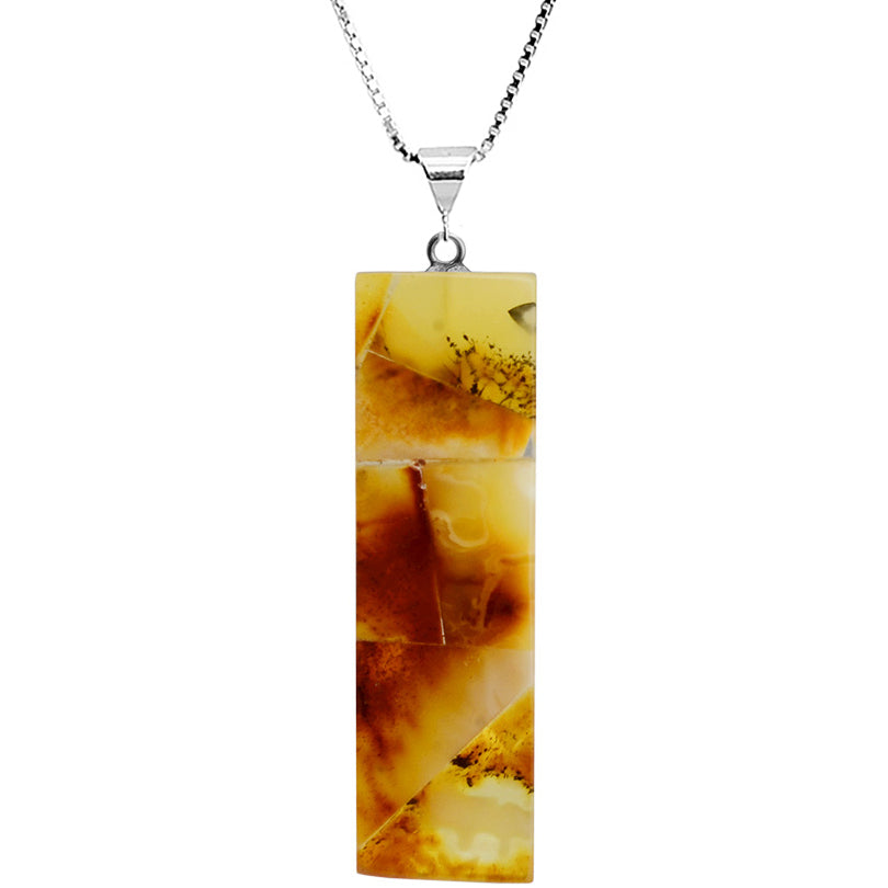 Mosaic Design Butterscotch Baltic Amber Sterling Silver Necklace