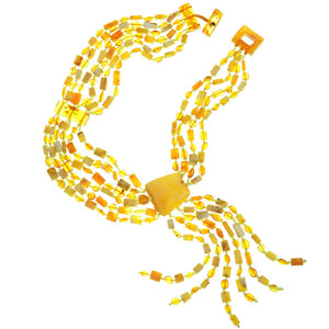 Polish Designer Stunning Necklace with Large Baltic Amber Butterscotch Stone and Amber Fringe