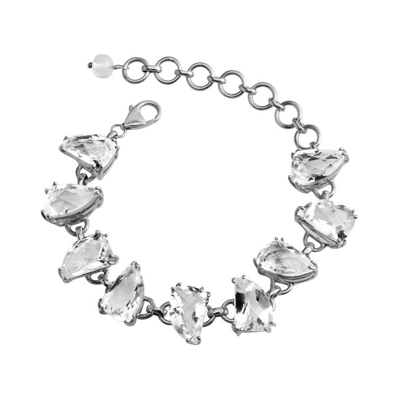 Icy Faceted Quartz Sterling Silver Bracelet