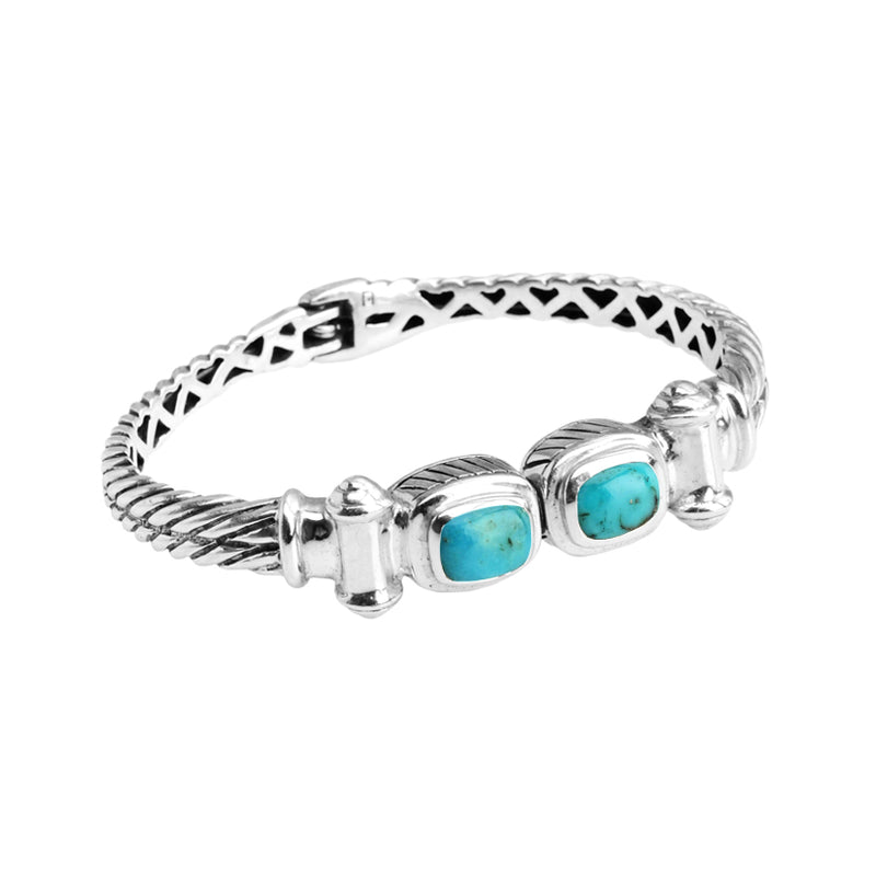 Stunning Arizona Turquoise Sterling Silver Magnetic Closing Bangle