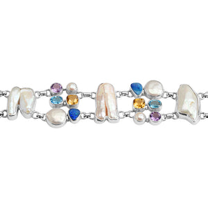 Gorgeous Pearls, Australian Blue Opal and Gemstones Balinese Sterling Silver Statement Balinese Bracelet