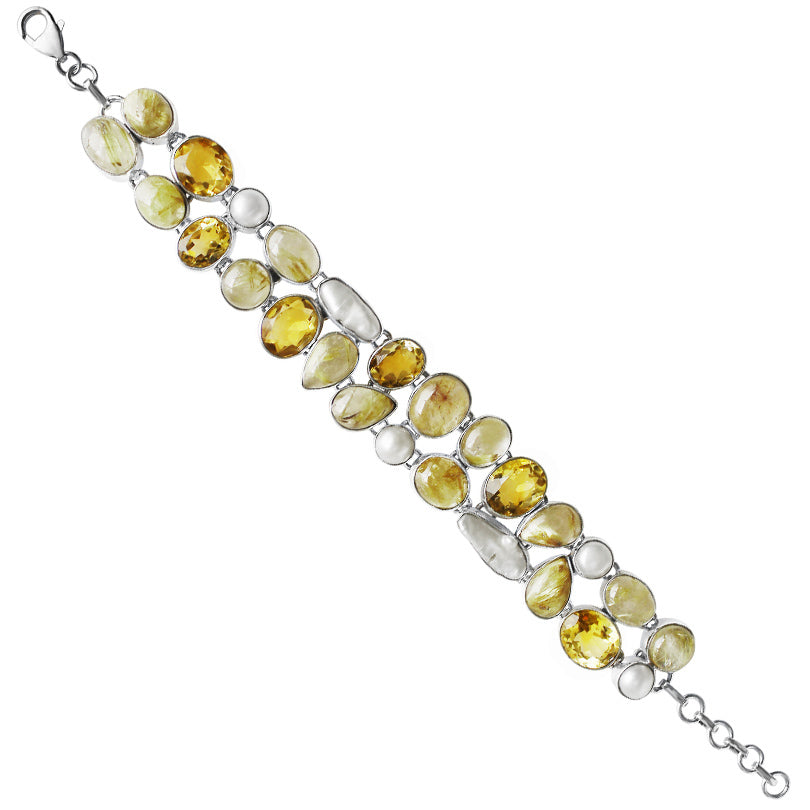 Sparkling Citrine with Gold Rutilated Quartz and Pearl Sterling Silver Statement Bracelet