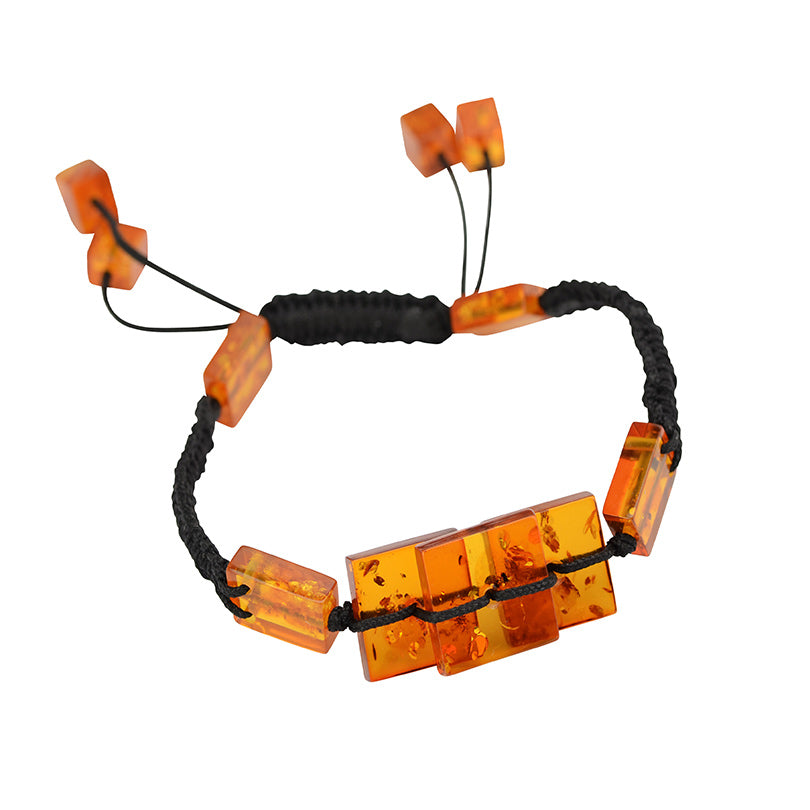 Fashionable Cognac Baltic Amber Pull String Bracelet