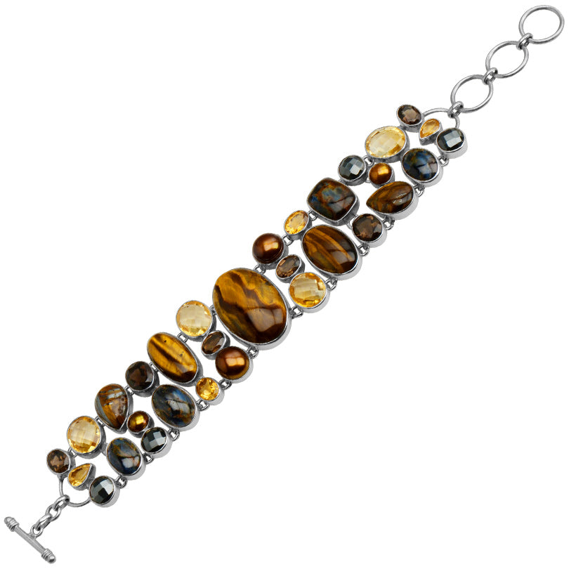 Gorgeous Tiger's Eye, Citrine and Smoky Quartz  Sterling Silver Statement Bracelet
