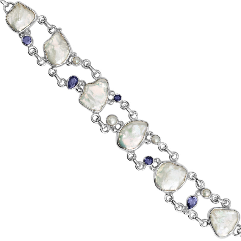 Freshwater Pearl and Deep Blue Iolite Sterling Silver Bracelet