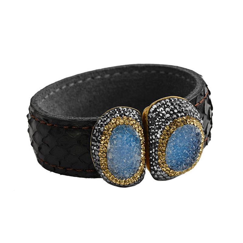 Snakeskin Statement Cuff with Blue Drusy with Sparkling Crystal & Hematite