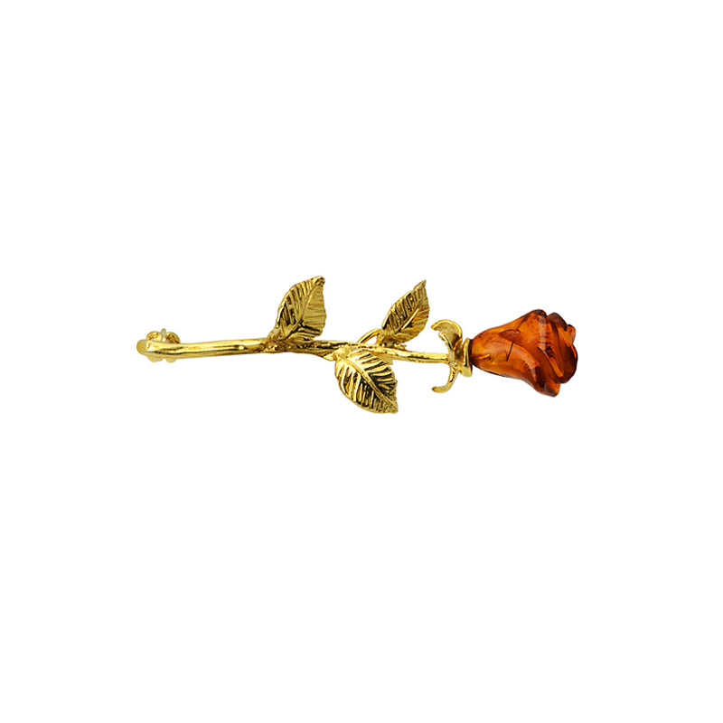 Delicate, Hand Carved Cognac Baltic Amber Gold Plated Rose Brooch