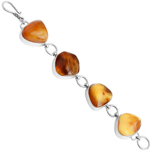 Large Butterscotch Baltic Amber Stones Sterling Silver Statement Bracelet