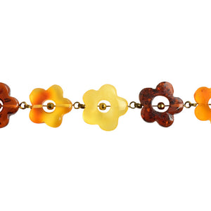 Beautiful Polish Designer Carved Baltic Amber Gold Filled Flower Bracelet