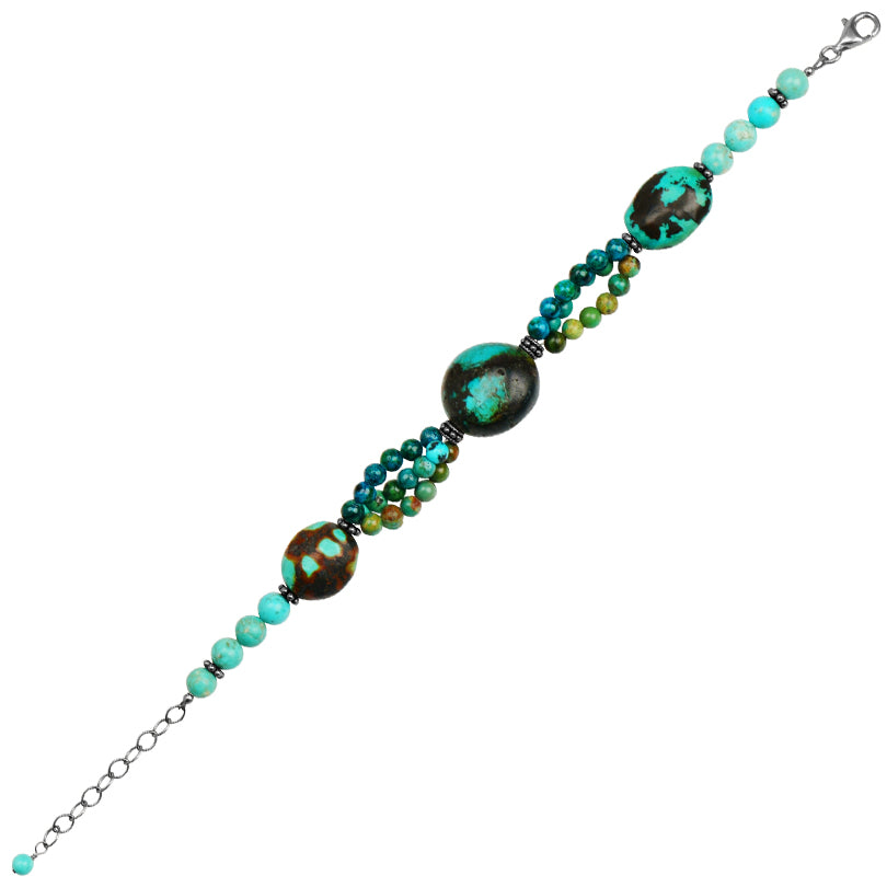 Lush Mix of Blues and Greens Turquoise Sterling Silver Bracelet