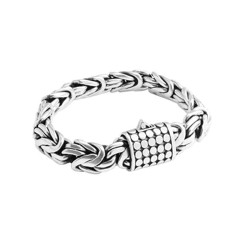 Sterling Silver 12mm Borobadur Bracelet with Dotted Barrel Clasp