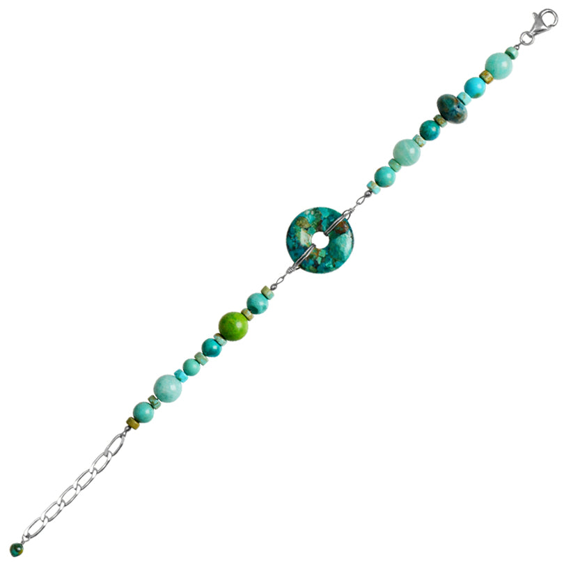 Classic Design Turquoise, Amazonite and Chrysocolla Sterling Silver Bracelet