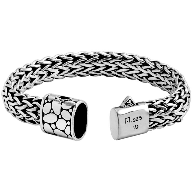 Sterling Silver Bali Weave with Boulder Design Barrel Clasp Bracelet 15mm