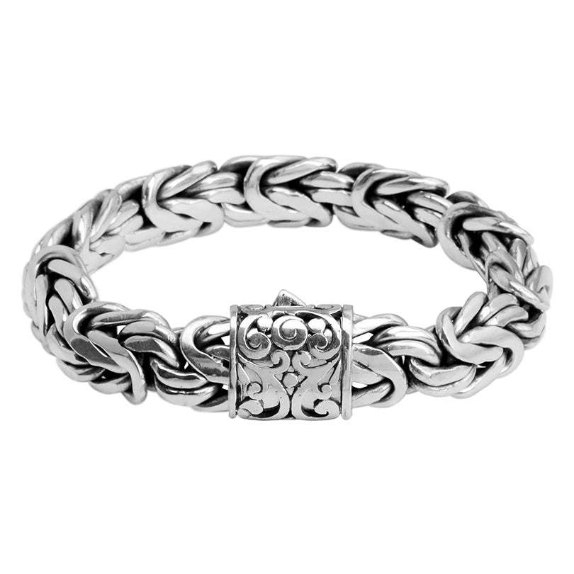 Sterling Silver 15mm Borobadur Bali Bracelet w/ Filigree Barrel Clasp