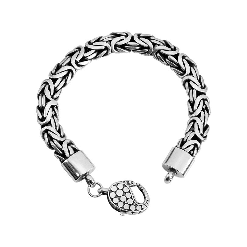 Sterling Silver 10mm Borobadur Bracelet with Dotted Lobster Clasp