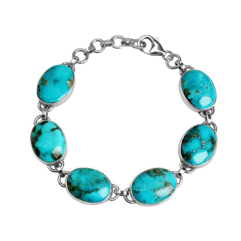 Beautiful Blue Genuine Arizona Turquoise Sterling Silver Bracelet