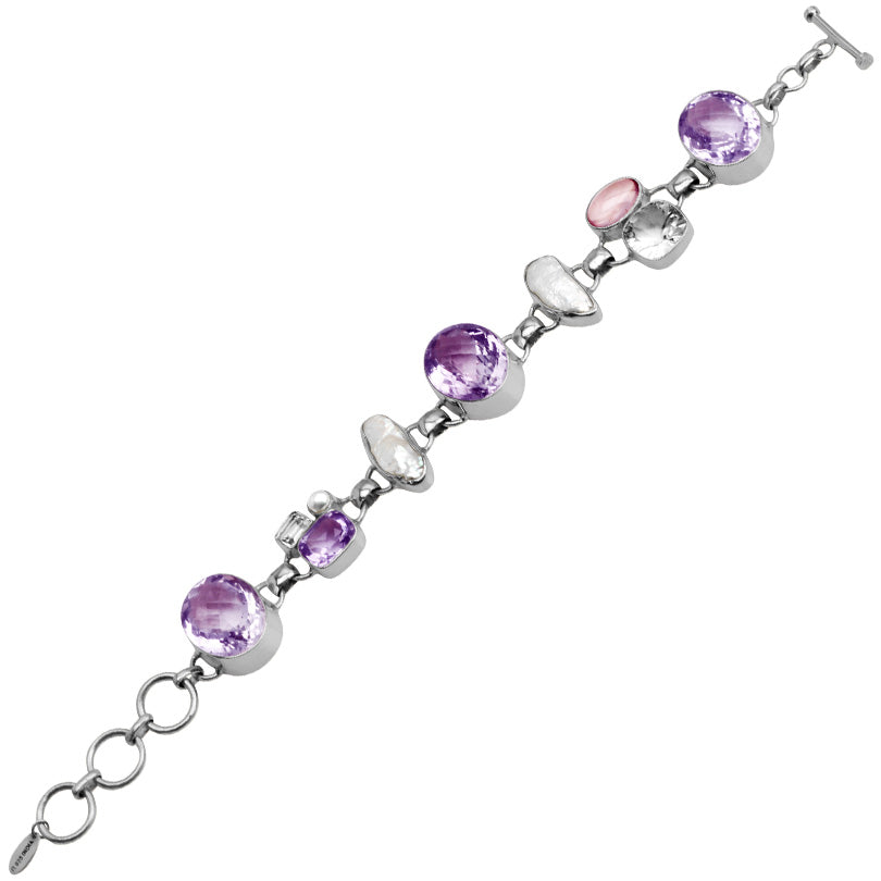Gorgoeus Lavender Diamond Cut Amethyst with Pearl Sterling Silver Bracelet-one of a kind!