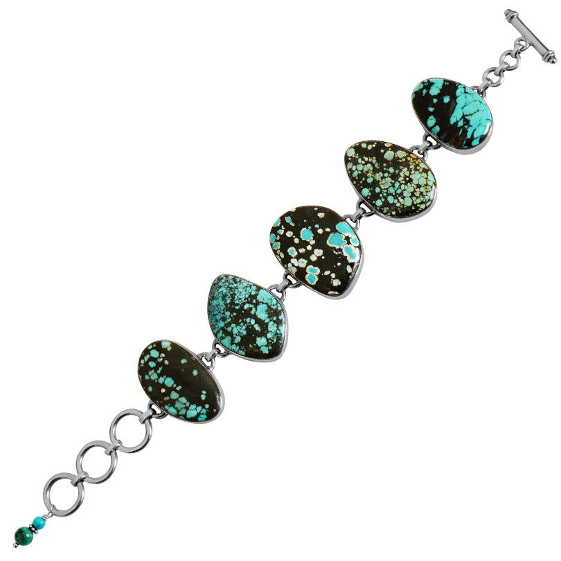 Genuine Turquoise Large Stone Sterling Silver Statement Bracelet