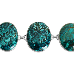 Fantastic Large Stone Genuine Turquoise Sterling Silver Statement Bracelet