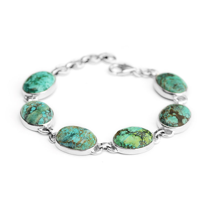 Classic Genuine Turquoise Sterling Silver Bracelet