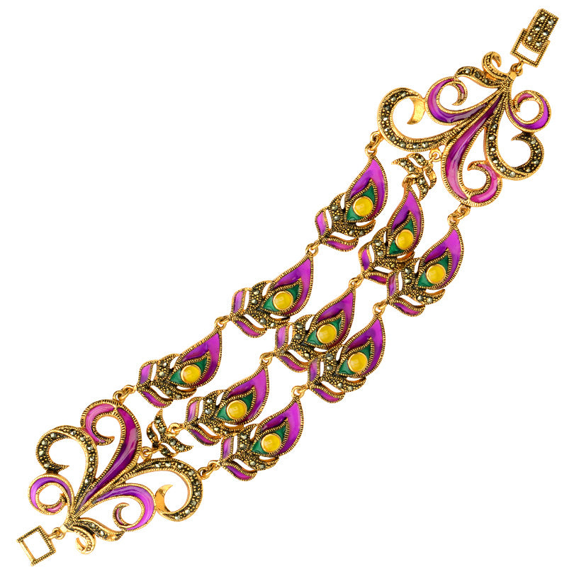 Elegant Peacock Purple Gold Plated Marcasite 3-Row Bracelet