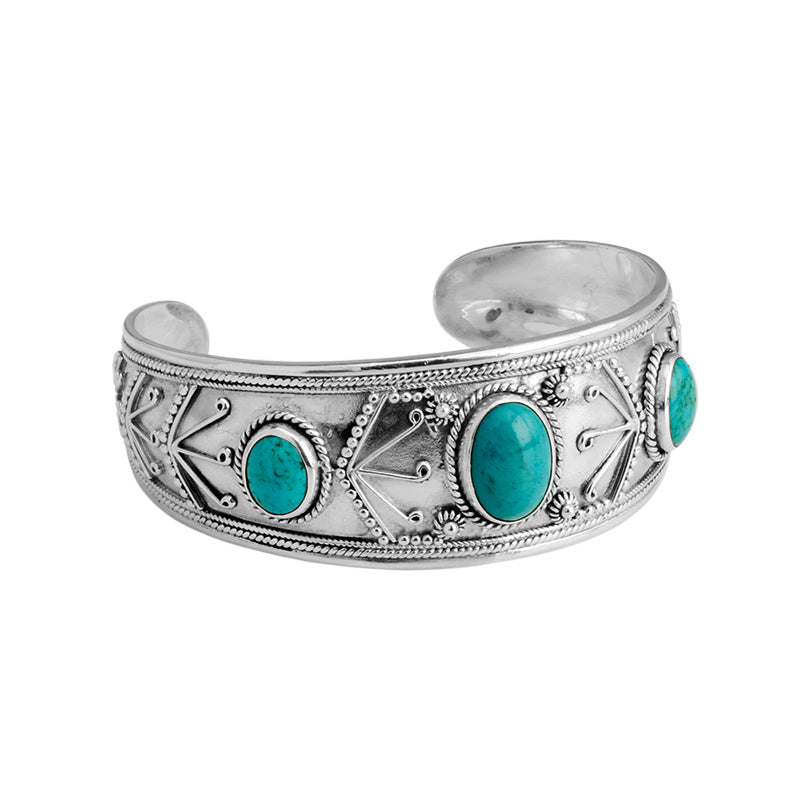 3-Stone Arizona Turquoise Sterling Silver Cuff